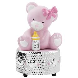 Pozytywka z różowym misiem pierre cardin na chrzest urodzinki z grawerem