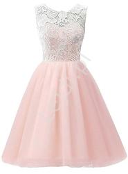 Jasnoróżowa sukienka szyfonowa z koronkową białą górą dla dziewczynek