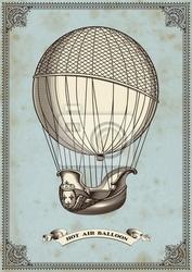 Plakat archiwalne karty z balonem