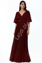 Długa plisowana suknia wieczorowa goddiva, ciemne wino 2568