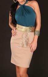 Sukienka z szmaragdową górą z węzełkiem pod szyją