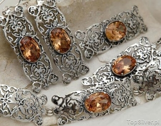 Atenea - srebrny komplet z topazem złocistym