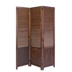 Parawan drewniany 3-częściowy w kolorze brązowym