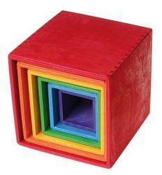 Drewniane Pudełka 0+, tęczowe, Grimms - tęczowe
