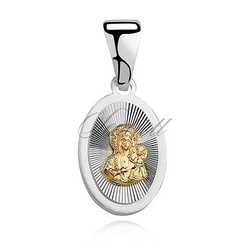 Srebrny medalik matka boska częstochowska - pozłacany