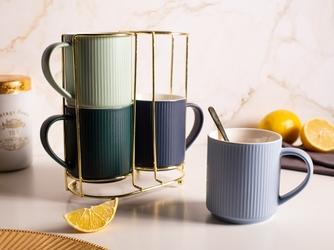 Zestaw 4 porcelanowych kubków altom design na złotym stojaku 250 ml, mix 4 kolorów opakowanie prezentowe