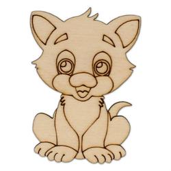 Drewniana ozdoba do rękodzieła - kotek mały