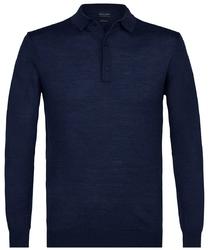 Elegancki granatowy sweter polo z długimi rękawami  XL