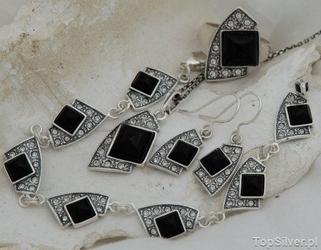 Enklawa - srebrny komplet z onyksem