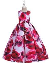 Długa sukienka dla nastolatki w czerwono różowe kwiaty 237