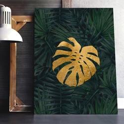 Obraz na płótnie - golden monstera , wymiary - 115cm x 170cm