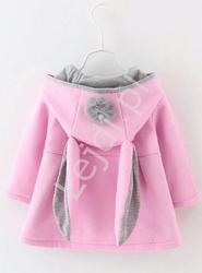 Płaszczyk wiosenny - różowy króliczek z pomponami dla dziewczynek 710