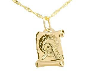 Złoty medalik z łańcuszkiem pr. 585 matka boska grawer niebieska kokardka - białe z niebieską kokardką