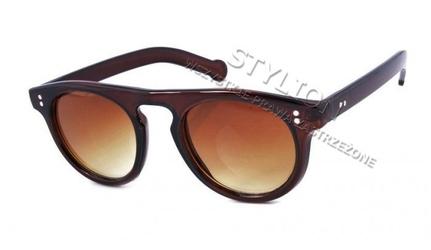 Okulary damskie okrągłe przeciwsłoneczne cocoim co-442b brązowe