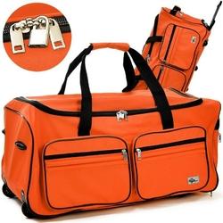 Duża walizka podróżna na kółkach 85 litrów - pomarańczowy  85 l
