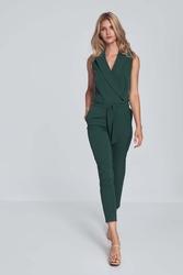 Elegancki kombinezon z wykładanym kołnierzem - zielona