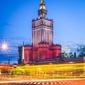 Warszawa kolory pałac kultury - plakat premium wymiar do wyboru: 30x45 cm