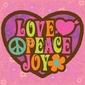 Obraz na płótnie canvas czteroczęściowy tetraptyk 70s love peace joy illustration