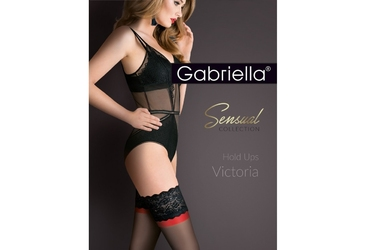 Victoria 474 plus size 56 gabriella pończochy z czerwonym akcentem