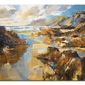 Waves and evening sun, north cornwall - obraz na płótnie