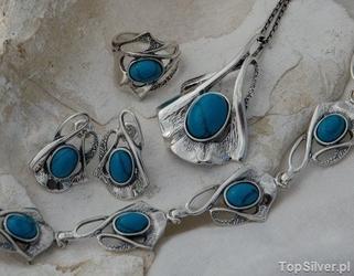 Capolinea - srebrny komplet z turkusem