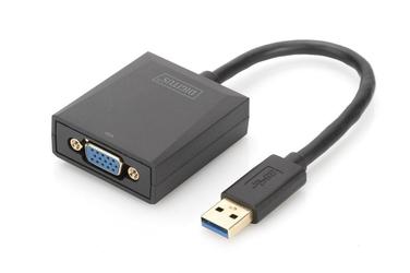 Digitus adapter graficzny vga 1080p fhd na usb 3.0, aluminiowy, czarny