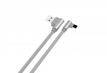 Unitek kabel usb typ-c - usb-a 1.0m, mm, kątowy, srebrny c14057gy