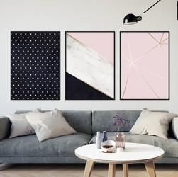 Zestaw trzech plakatów - design trio , wymiary - 70cm x 100cm 3 sztuki, kolor ramki - czarny