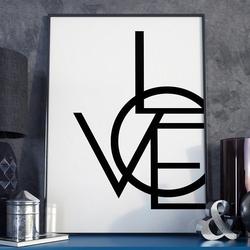 Modern love - plakat typograficzny w ramie , wymiary - 60cm x 90cm, wersja - czarne napisy + białe tło, kolor ramki - biały