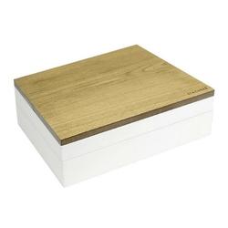Pudełko na biżuterię podwójne supersize wood biało-beżowe