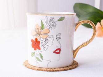 Kubek do kawy i herbaty porcelanowy ze złotym uchem altom design kobieta 250 ml, dekoracja  a