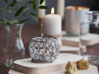 Świecznik ozdobny kula z kryształkami na tealight  podgrzewacze altom design 9,5 cm