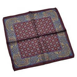 Jedwabna bordowa poszetka w niebiesko złoty wzór