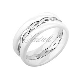Dwa białe pierścionki ceramiczne i pierścionek srebrny