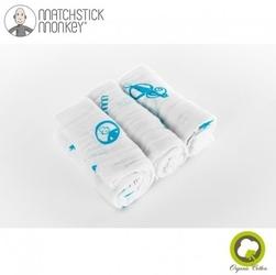 Matchstick monkey organic cotton muslin blue pieluszki muślinowe bio 3 szt