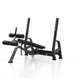 Ławka do wyciskania w skosie ujemnym mp-l208 - marbo sport - czarny  antracyt metalic