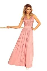 Jasnoróżowa długa wieczorowa sukienka z koronką