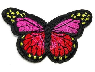 Naprasowanka termo aplikacja motyl czerwona - czerwony