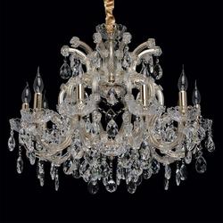 Żyrandol złoty bogato zdobiony kryształami odetta chiaro crystal 10-ramienny 405010810