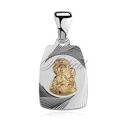 Srebrny medalik pozłacana matka boska częstochowska
