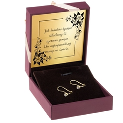 Złote kolczyki próby 585 biała cyrkonia prezent z dedykacją - wliczony w cenę