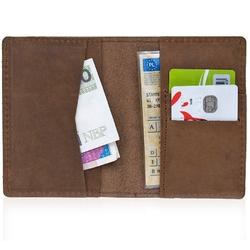 Skórzany cienki portfel slim wallet brodrene sw05 jasnobrązowy - j. brązowy