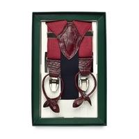 Czerwone lniane szelki do spodni