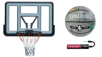 Tablica kosz do koszykówki spartan + piłka spalding nba marble +pompka