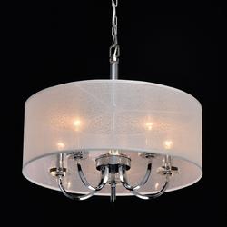 Lampa wisząca biały, duży abażur i 5 żarówek palermo chiaro elegance 386017205