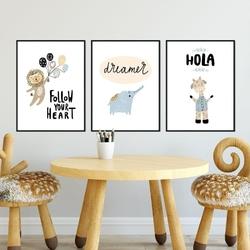 Zestaw plakatów dziecięcych - hola baby , wymiary - 50cm x 70cm 3 sztuki, kolor ramki - biały