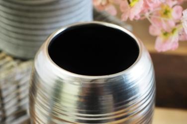 Wazon ceramiczny srebrny h - 25  cm okrągły