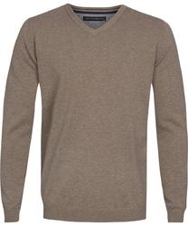 Beżowy sweter  pulower v-neck z bawełny  s