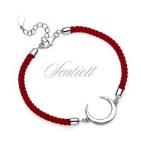 Srebrna pr.925 bransoletka z czerwonym sznurkiem - półksiężyc