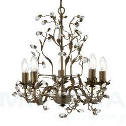 Almandite lampa wisząca 5 brązowe złoto kryształ